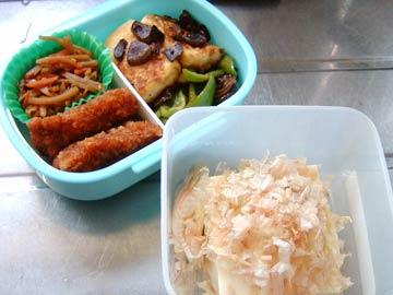 豆腐のガーリックステーキと冷ややっこ弁当